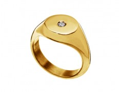 Signet ring single cz gold